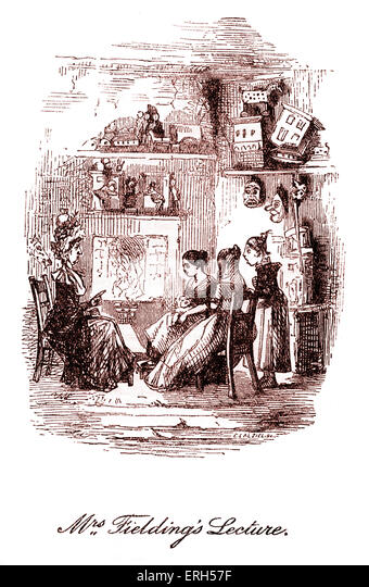 The Cricket on the Hearth by Charles Dickens, published in 1845. Caption reads: 'Mrs Fielding's Lecture'. - Stock Image