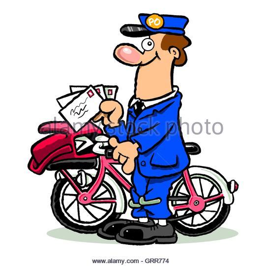 Cartoon mailman on bike - Stock Image