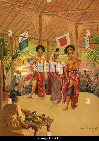 The Javanese Dancers, Illustration for l'Exposition Universelle 1889 - Stock Image