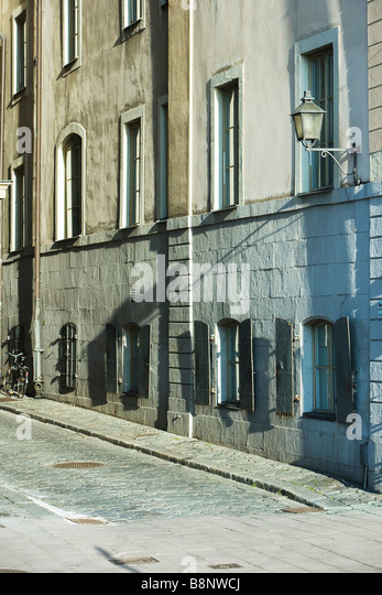 Sweden, Stockholm, building exterior and alleyway - Stock Image