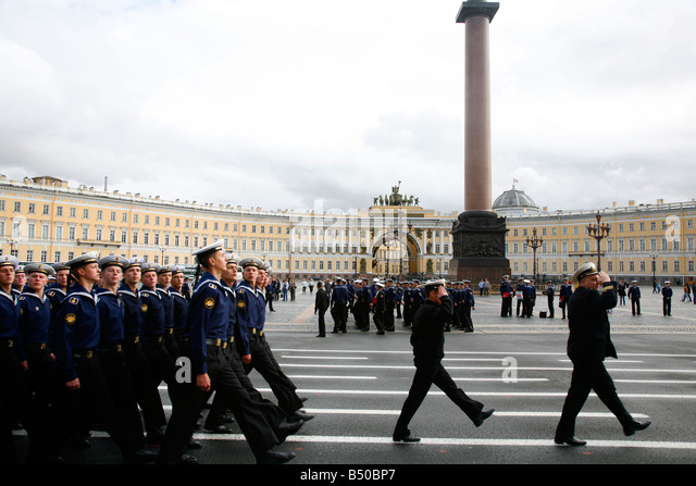 Aug 2008 - Military march at the Palace Square Dvortsovaya Polshchad St Petersburg Russia - Stock Image