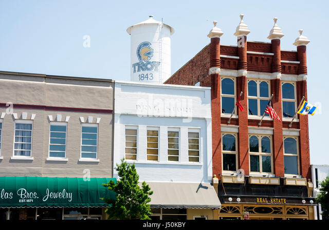 Alabama Troy small town square downtown historic buildings revitalization business county seat red brick building - Stock Image