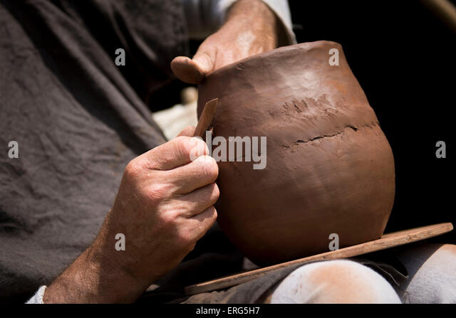 Clay pot making by hand - Stock Image