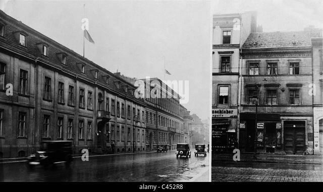 Flags at half mast at the Foreign Ministry after Stresemann's death, 1929 - Stock Image