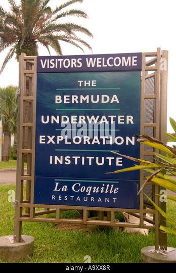Bermuda Hamilton Bermuda Underwater Exploration Institute sign - Stock Image