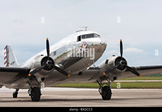 C-47 Skytrain on tarmac. - Stock Image