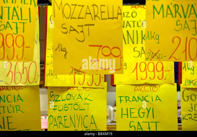 Price tags at the Central Market Hall, Budapest, Hungary - Stock Image