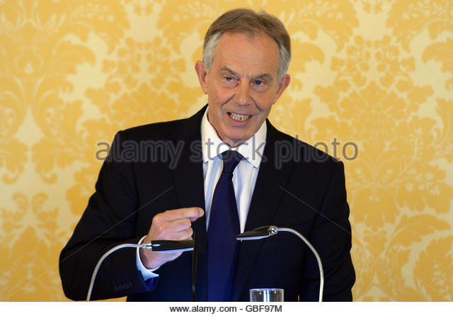 Former British Prime Minister, Tony  Blair, delivers a speech following the publication of The Iraq Inquiry Report - Stock-Bilder