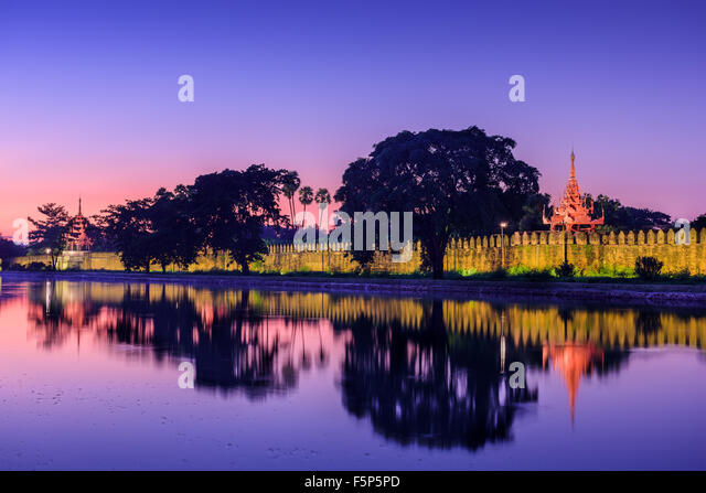 Mandalay, Myanmar at the royal palace moat. - Stock-Bilder