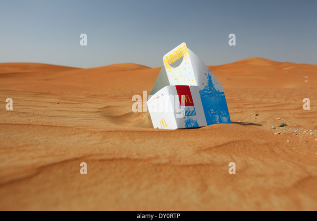 waste, garbage, mac donalds, mc, food, rubbish, garbage, nature, dropped, desert - Stock Image