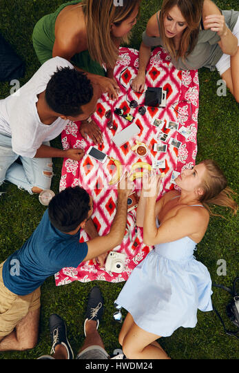 Overhead view of five adult friends picnicking in park - Stock-Bilder