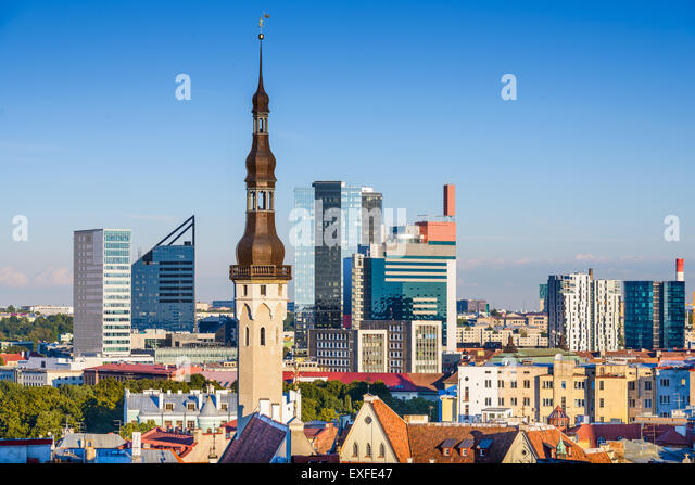 Tallinn, Estonia skyline with modern and historic buildings. - Stock-Bilder