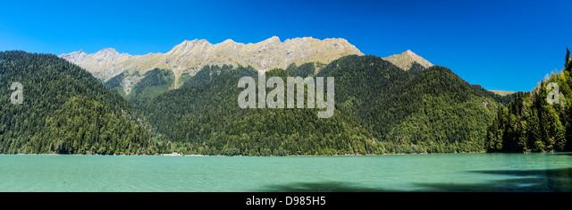 the ritsa lake in abkhazia - Stock Image