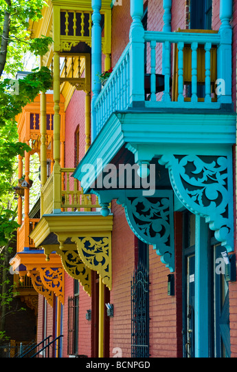 Typical row of Houses in the Plateau Mont Royal Montreal Quebec Canada - Stock Image