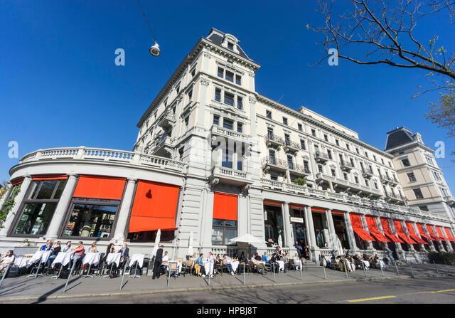 Street Cafe Terasse , Bellevue, Zurich, Switzerland - Stock Image