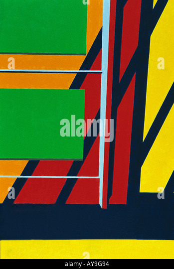 Art Abstract close up of painting in primary colors of red, blue, green, yellow lines and squares - Stock Image