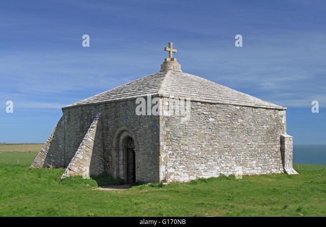 St Aldhelm's Chapel, Worth Matravers, Corfe, Purbeck, Jurassic Coast, Dorset, England, Great Britain, United - Stock Image