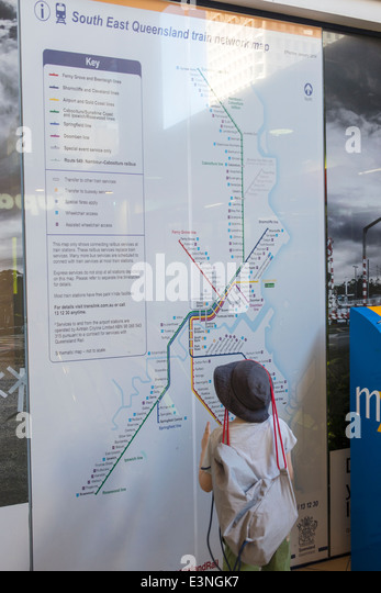 Brisbane Australia Queensland Central Railway Station Rail System TransLink Trans Link train rider passenger network - Stock Image