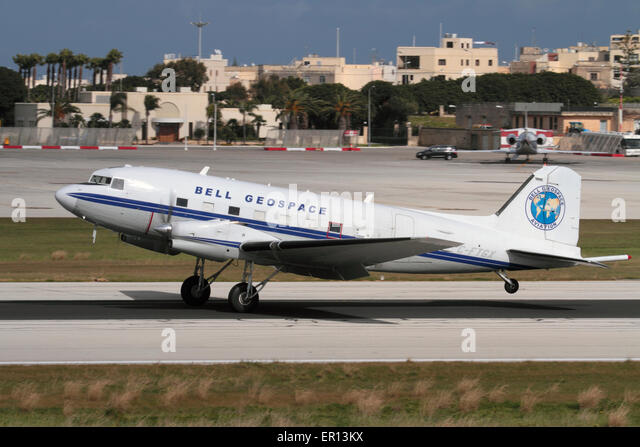 Basler BT-67 (turboprop conversion of the Douglas DC-3) operated by Bell Geospace as a geological survey aircraft - Stock Image