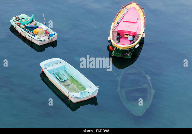 Boats floating on sea - Stock Image