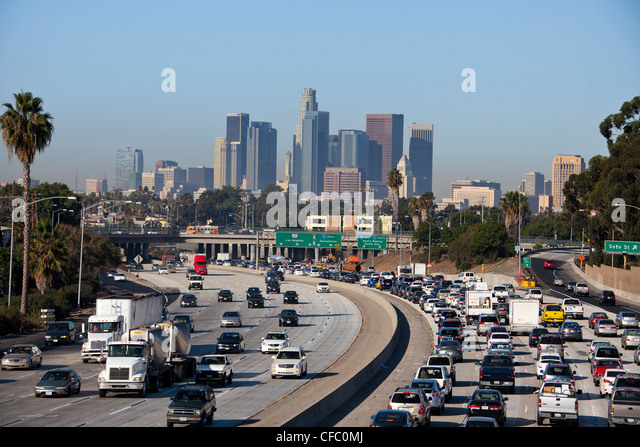 USA, United States, America, California, Los Angeles, City, Downtown, freeway, architecture, busy, cars, consumption, - Stock Image