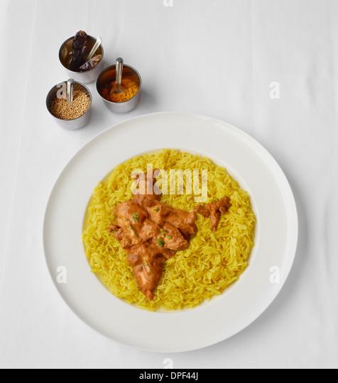 Chicken Tikka Massala in shape of India - Stock-Bilder