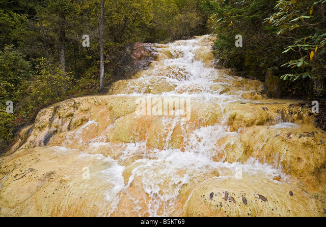 Travertine calcite calcified slope in Huanglong Sichuan Province China JMH3528 - Stock Image