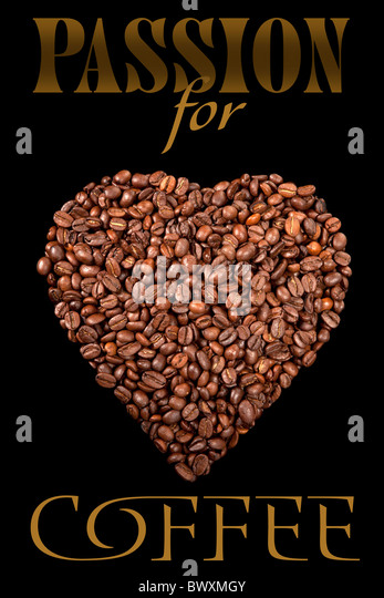 The poster with coffee beans - Stock Image