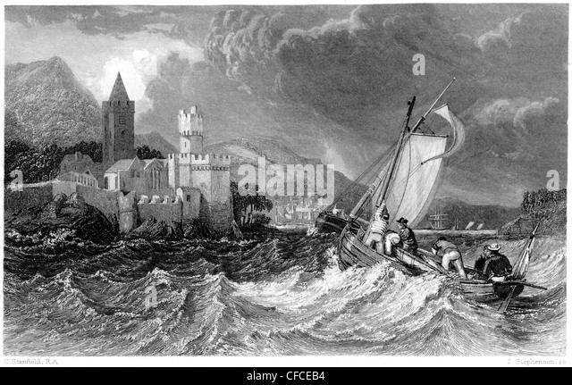 An engraving entitled 'Dartmouth Castle' scanned at high resolution from a book published in 1847 - Stock Image