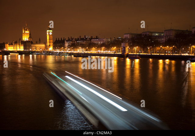 Boat in motion on River Thames, London, UK - Stock Image