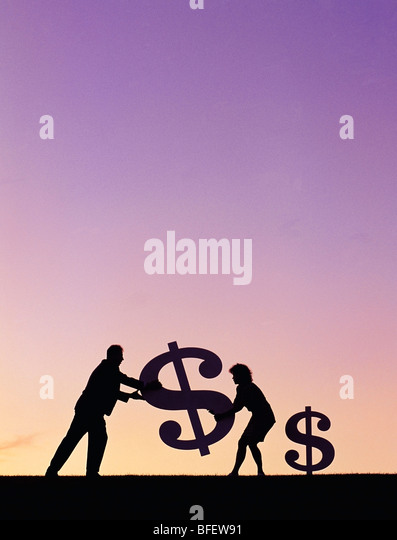 Conceptual of a couple carrying a dollar sign near Winnipeg, Manitoba, Canada - Stock Image