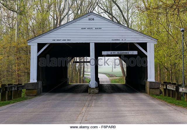 Henry Wolfe Covered Bridge, Brown County State Park, Nashville, Indiana. Built in 1838 - Stock Image