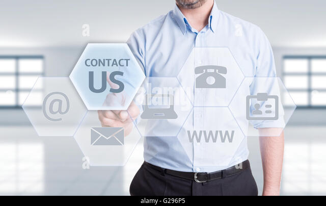 Contact us options or get in touch with us or our company concept - Stock Image