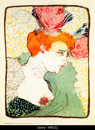 Marcelle Lender 1895 print by Toulouse Lautrec of the leading lady in the Parisian operetta Chilperic - Stock Image