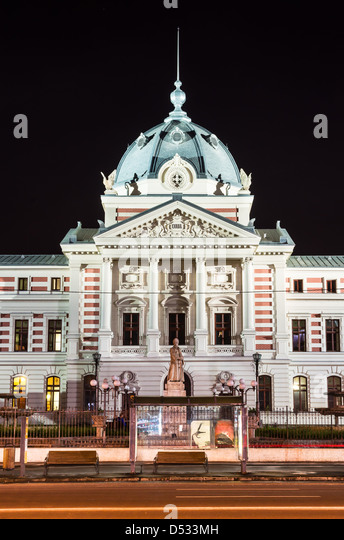 Old Bucharest architecture with Coltea Hospital, from XVII century. Romanian landmark. - Stock Image