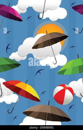 A vector illustration of wallpaper with colorful umbrella pattern - Stock Image