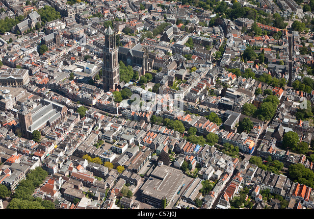 The Netherlands, Utrecht, View on cathedral called De Dom in the city center. Aerial. - Stock Image
