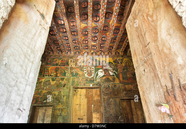 Ancient wall paintings inside the Debre Birhan Selassie Church, Gondar, Ethiopia - Stock-Bilder