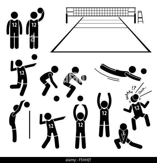 A Set Of Stickman Pictogram Representing The Actions Stock