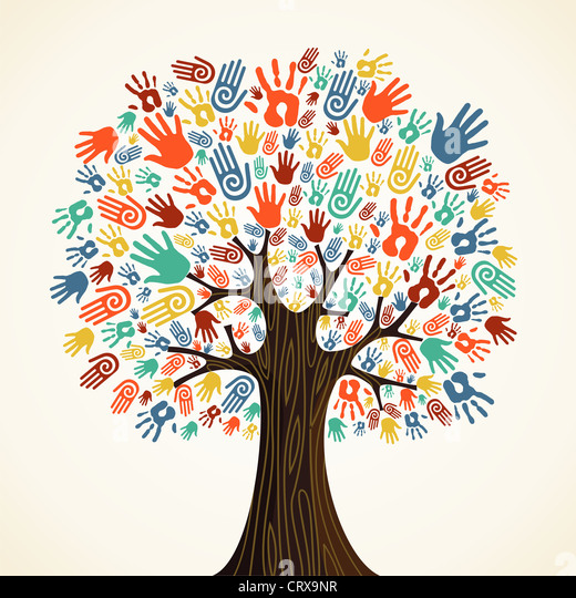 Isolated diversity tree hands illustration. Vector file layered for easy manipulation and custom coloring. - Stock-Bilder