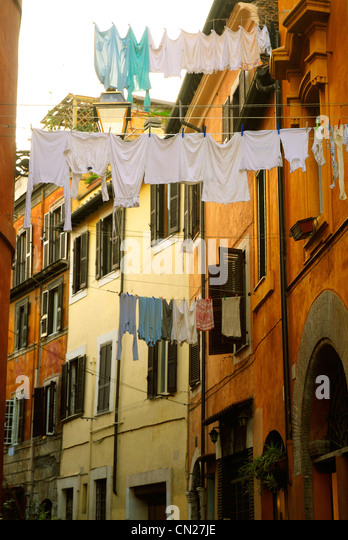 Laundry hanging on clothes line, Rome, Italy - Stock Image