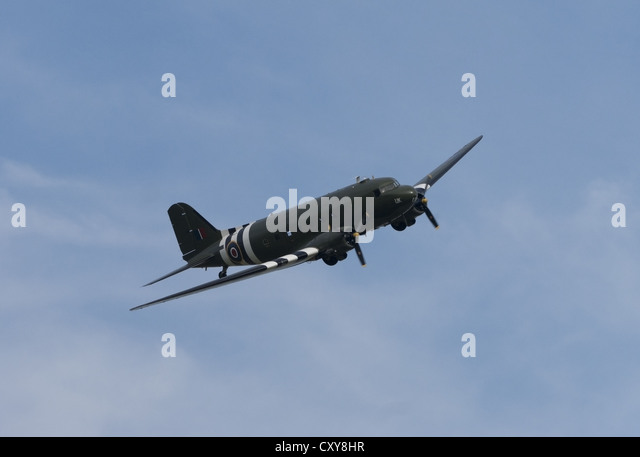 Douglas C-47 Skytrain with D-Day markings - Stock Image