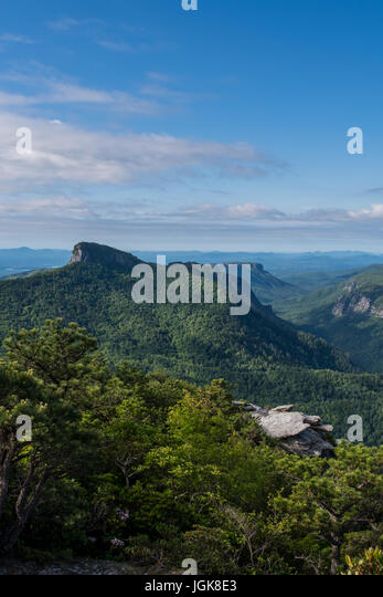 Table Rock Mountain From Hawksbill in Spring in North Carolina Mountains - Stock Image