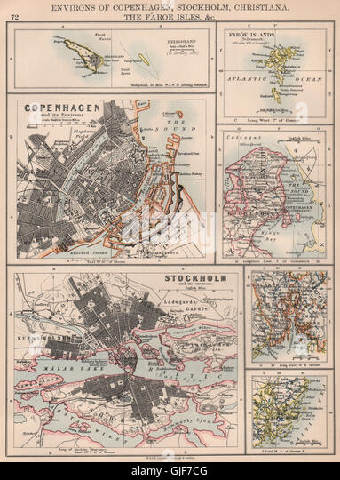 SCANDINAVIAN CITIES. Copenhagen Stockholm Christiania (Oslo) . JOHNSTON 1906 map - Stock Image