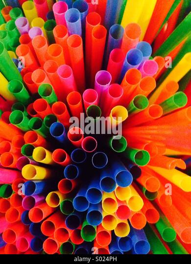 Straws of dofferent colors - Stock Image