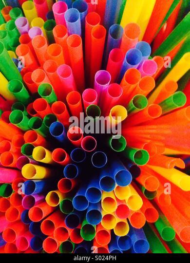 Straws of dofferent colors - Stock-Bilder