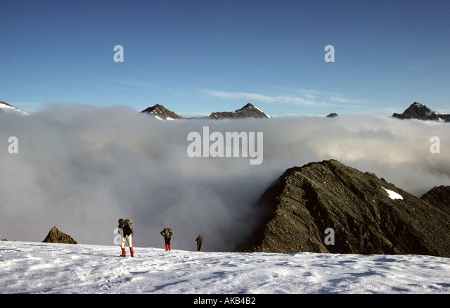 Mist on the Marzellkamm ridge, Ötztal Alps, Austria - Stock Image