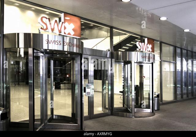 Switzerland Zurich stock exchange swiss Exchange sign entrance Schweiz Zuerich Boerse Eingang SWX - Stock Image