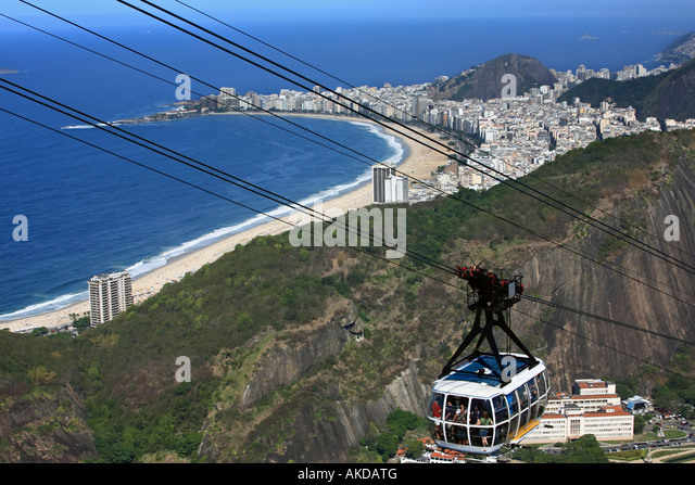 aerial view of copacabana with the from the sugar loaf in rio de janeiro brazil - Stock Image