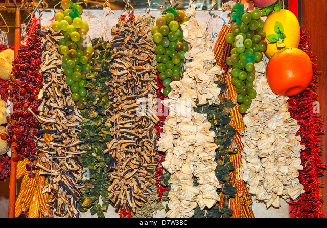 Dried vegetables, Egyptian bazaar, Istanbul, Turkey - Stock Image